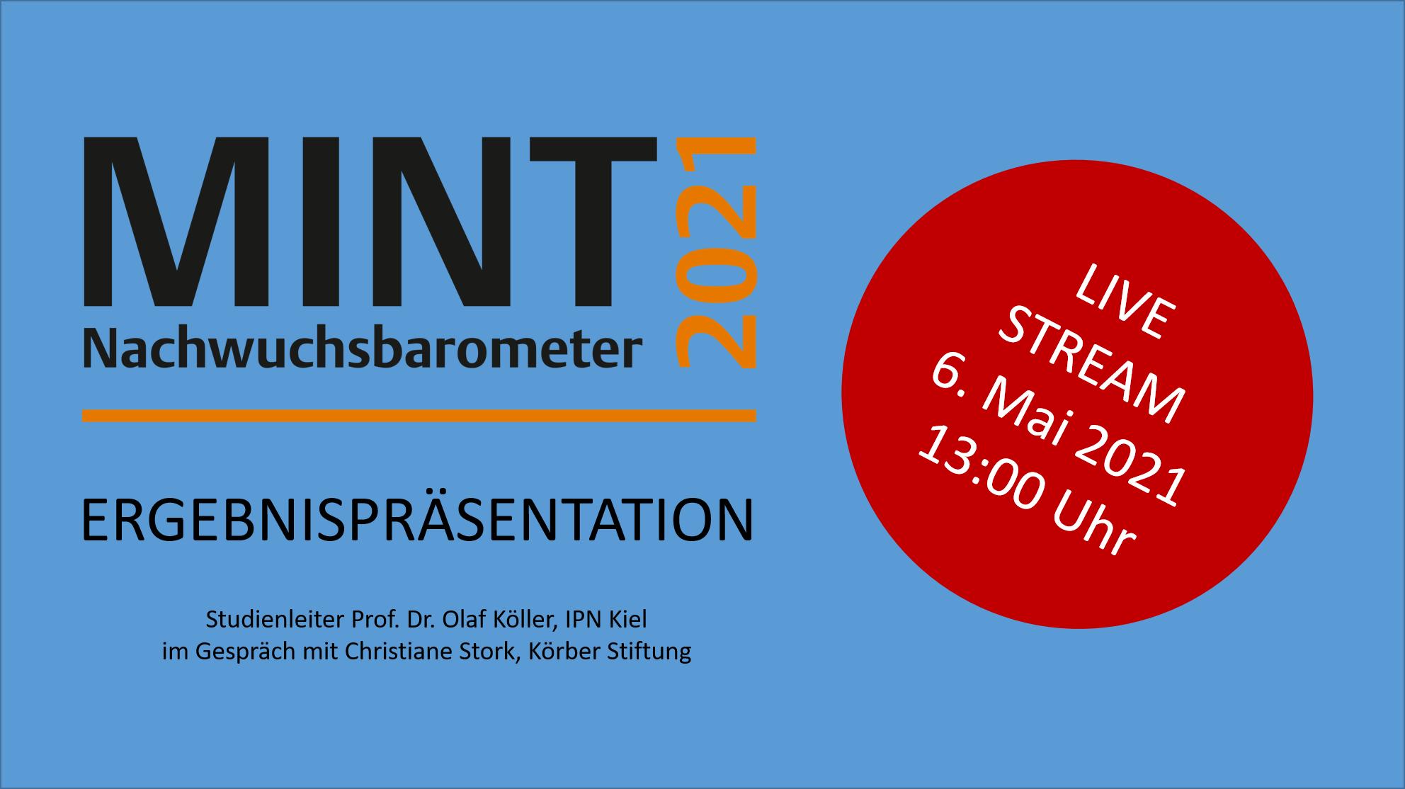 Online-Präsentation am Donnerstag, 6. Mai 2021, 13:00 h: MINT Nachwuchsbarometer 2021